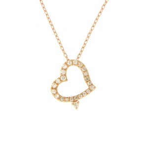 unbranded 14K Rose Gold 0.09 CT Diamonds Heart Necklace