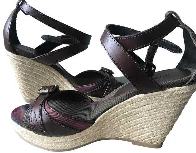 Burberry Brown Leather Cross Strap Espadrille Wedge Sandals Size EU 37 (Approx. US 7) Regular (M, B) Burberry Brown Leather Cross Strap Espadrille Wedge Sandals Size EU 37 (Approx. US 7) Regular (M, B) Image 1