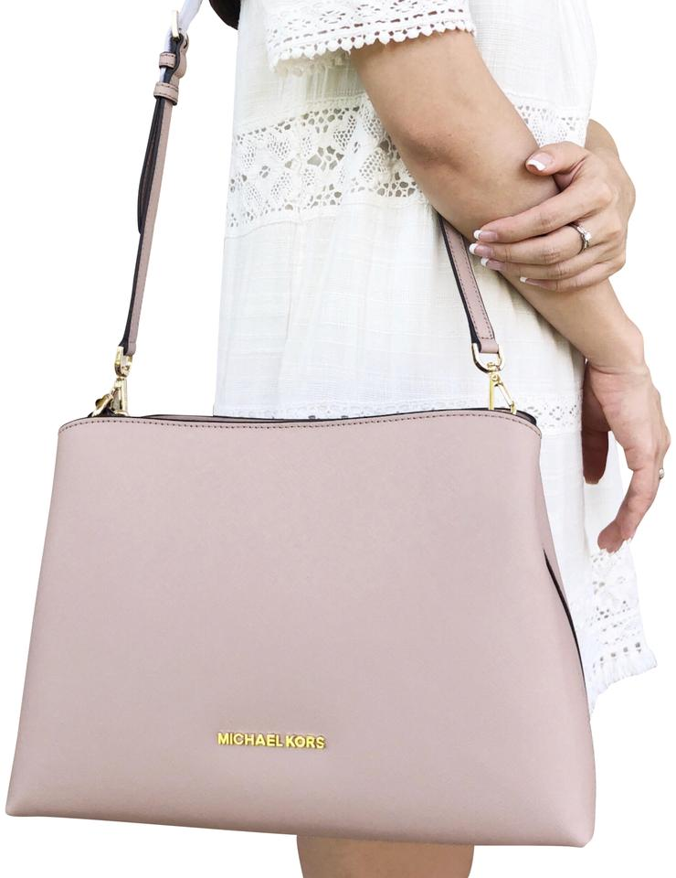 43bc27db05f7 Michael Kors Sofia Portia Large East West Satchel Fawn Pink Leather Cross  Body Bag
