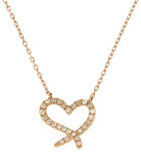 Unbranded 14K Rose Gold 0.06 CT Diamonds Heart Necklace
