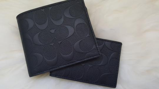 Coach NEW Coach Embossed signature Logo Leather W ID Card Case holder Wallet Image 6
