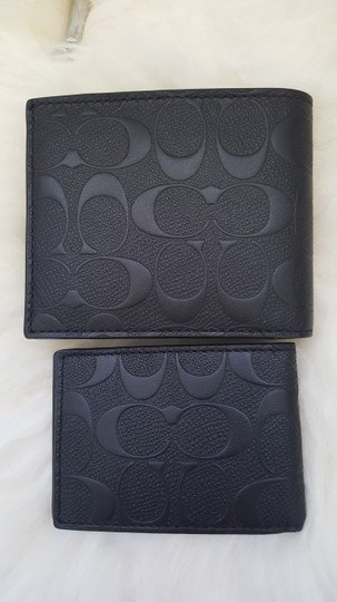 Coach NEW Coach Embossed signature Logo Leather W ID Card Case holder Wallet Image 7