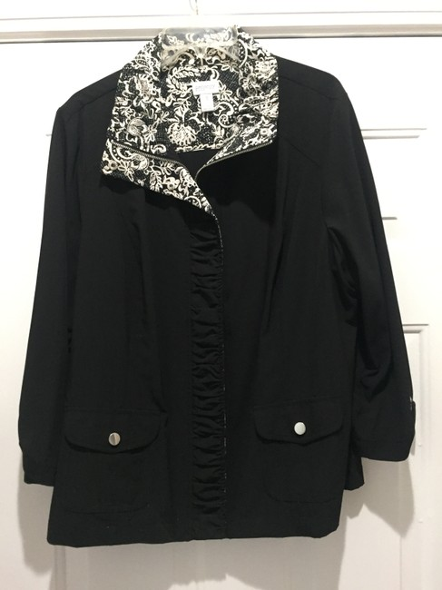 CHICO Casual BLACK WITH BLACK AND WHITE TRIM Jacket Image 2