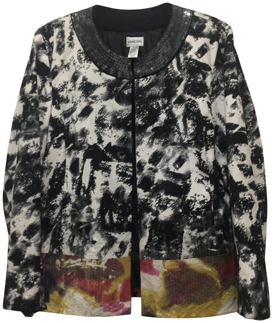 Preload https://img-static.tradesy.com/item/24126055/black-and-white-with-sequines-at-bottom-in-diff-colors-dressy-or-casual-for-holiday-jacket-size-12-l-0-1-650-650.jpg