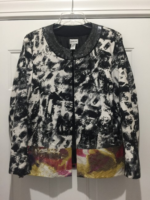 CHICO BLACK AND WHITE WITH SEQUINES AT BOTTOM IN DIFF. COLORS Jacket Image 2