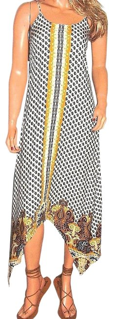 Item - Multicolored XS Gold Navy Blue Hippie Chic Mid-length Casual Maxi Dress Size 0 (XS)
