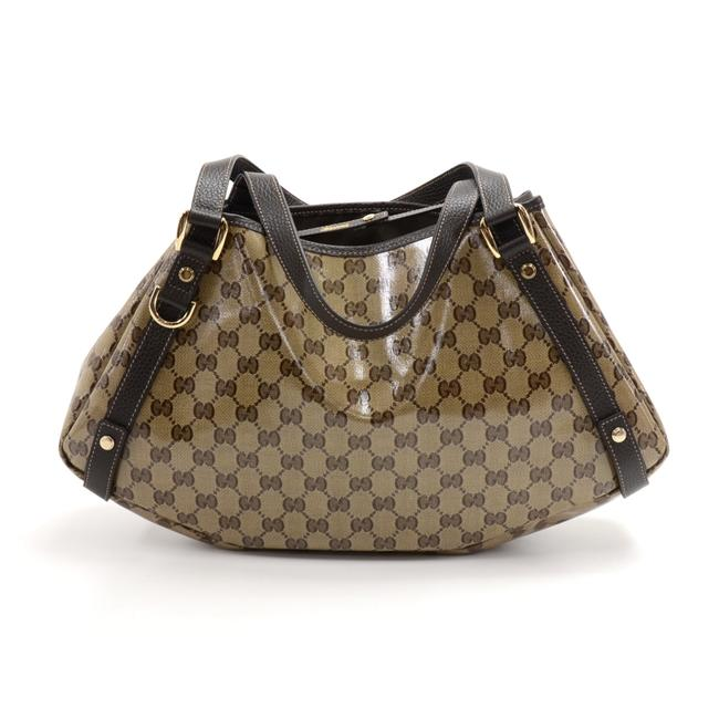 Gucci Gg Monogram Crystal Coated Brown Leather Beige Canvas Shoulder Bag Gucci Gg Monogram Crystal Coated Brown Leather Beige Canvas Shoulder Bag Image 1