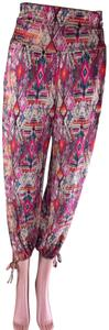 Onzie Stretchy Relaxed High Waist Yoga Baggy Pants Red multi