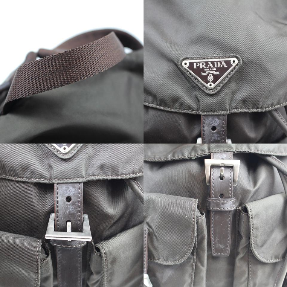 f9ccef6daf39 Prada Backpack Logos Khaki Brown Nylon Leather Vintage Shoulder Bag ...