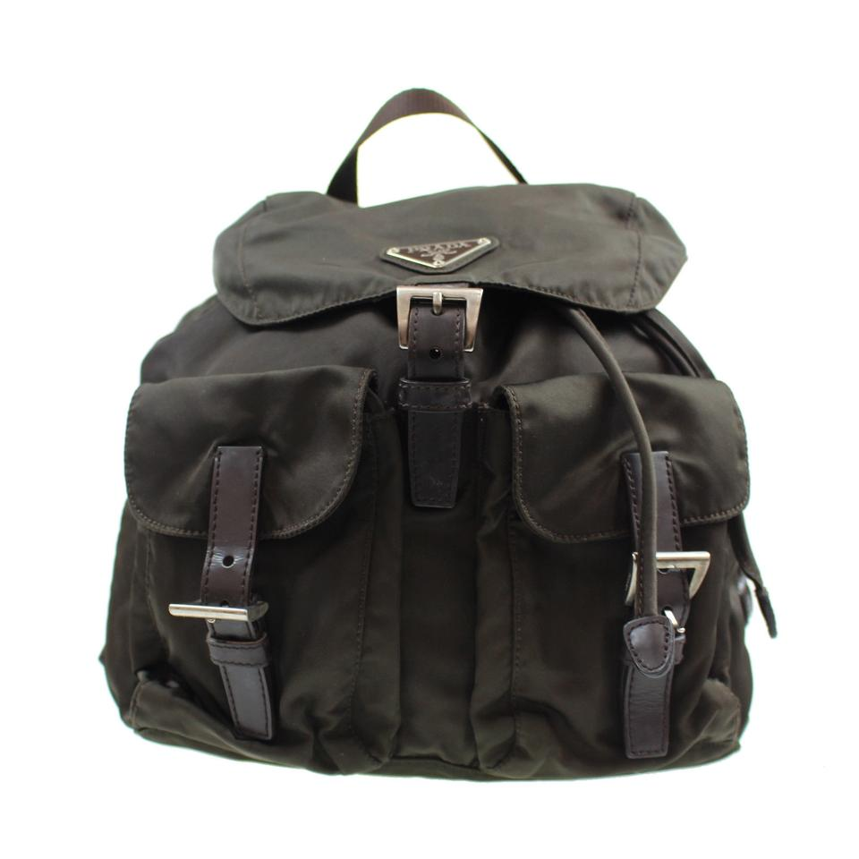 b9d2dc67f140 Prada Shoulder Bag Logos Khaki Brown Nylon Leather Vintage Backpack ...