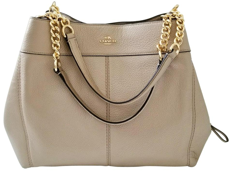 1f8568674df0 Coach Lexy New Classy Chain Strap Shoulder Purse Platinum Gold Leather Hobo  Bag