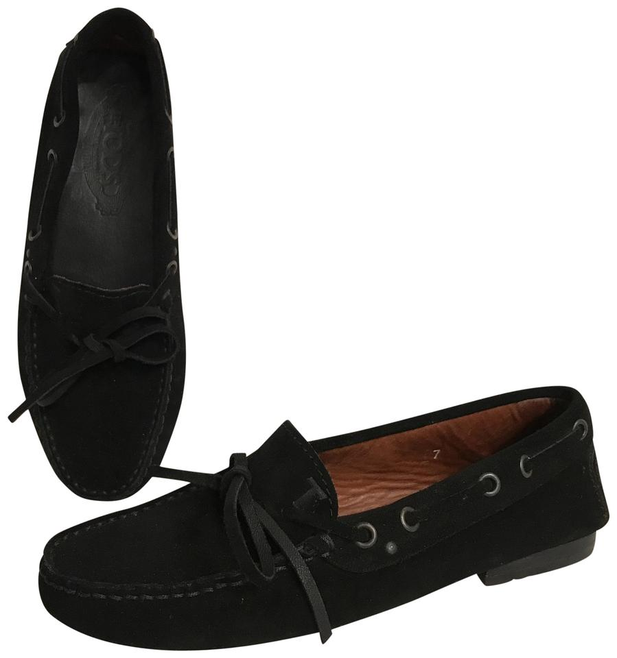 Tod's Suede Moccasins Driving Loafers Slip Ons Black Flats ...