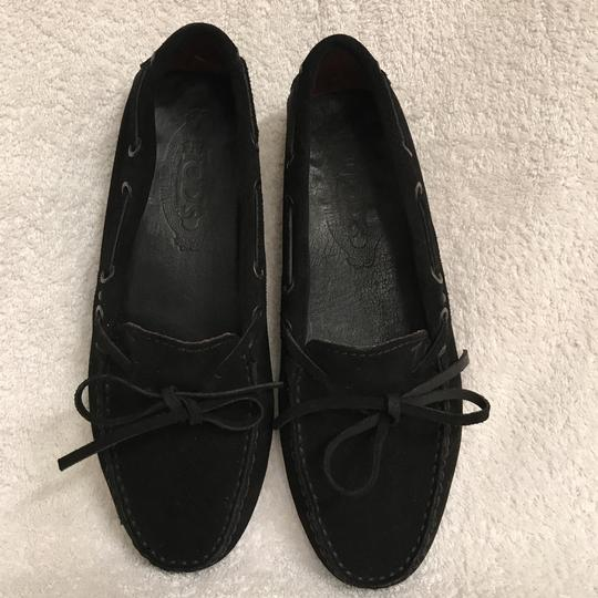 Tod's Suede Moccasins Driving Loafers Slip Ons Black Flats Image 1