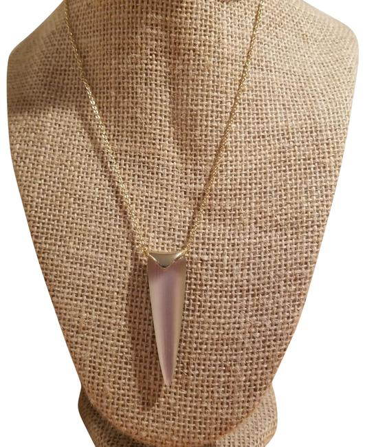 Alexis Bittar Metallic and Gold Peach Liquid Spear Pendant Necklace Alexis Bittar Metallic and Gold Peach Liquid Spear Pendant Necklace Image 1