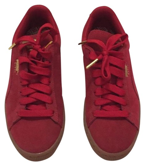 Puma Red Suede Sneakers Women's Flats