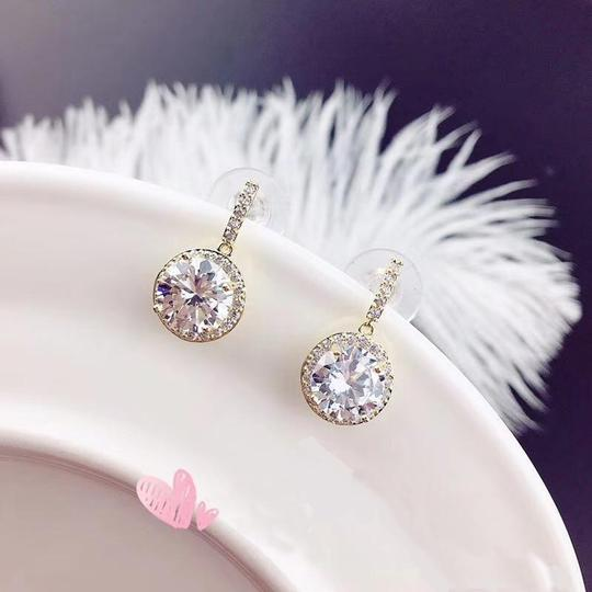 Ocean Fashion Gold Simple large crystal earrings Image 3