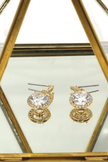 Ocean Fashion Gold Simple large crystal earrings Image 4