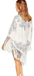 Anna Sui Crochet Tassel Fringe Embroidered Swimsuit Cover Up Kimono Poncho