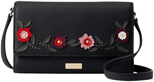 Kate Spade Connie Laurel Way Floral Embroidered Black Leather Cross Body Bag Kate Spade Connie Laurel Way Floral Embroidered Black Leather Cross Body Bag Image 1