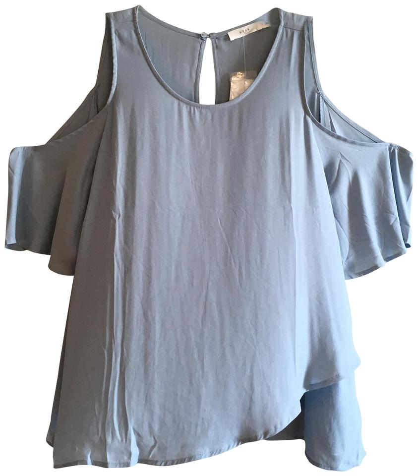 795ca66113082 Lush Blue Open Cold Cutout Shoulder Flowy Blouse Size 12 (L) - Tradesy