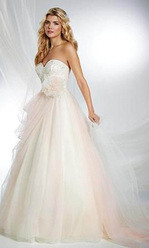 Alfred Angelo Ivory And Blush Tulle Embroidered Lace Satin Disney Fairy Tale Bridal Sleeping Beauty Style