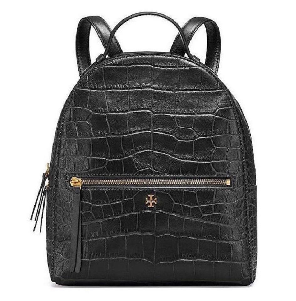 ad343cdf6d2 Tory Burch End-of-summer-sale Croc-embossed Mini Black Leather Backpack