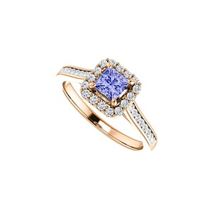 DesignByVeronica Faceted Cut Tanzanite CZ Halo Ring in 14K Rose Vermeil