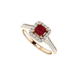 DesignByVeronica Faceted Cut Ruby CZ Halo Ring in 14K Rose Vermeil