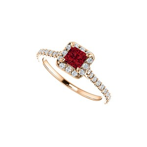 DesignByVeronica Princess Cut Ruby and CZ Halo Ring in 14K Rose Vermeil