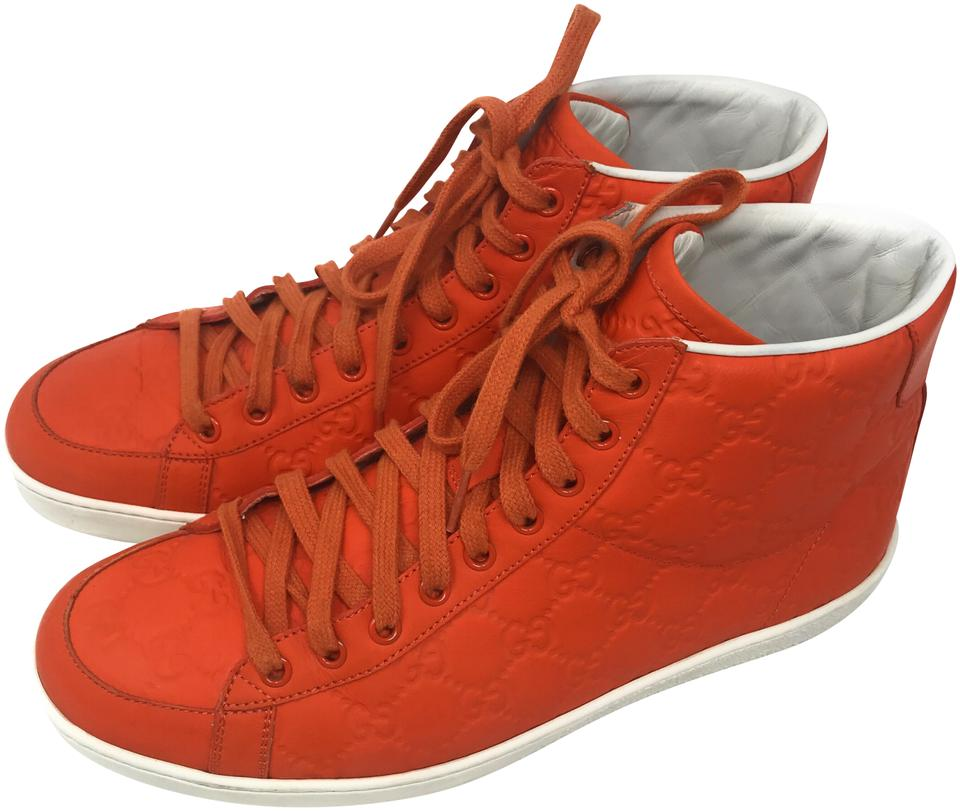 f2b1df6292a04 Gucci Orange Men's High-top Leather Sneakers Size EU 38 (Approx. US ...