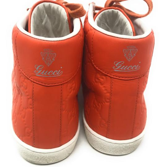 Gucci Sneakers High Top Leather Gg Monongram Orange Athletic Image 1
