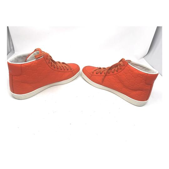 Gucci Sneakers High Top Leather Gg Monongram Orange Athletic Image 10