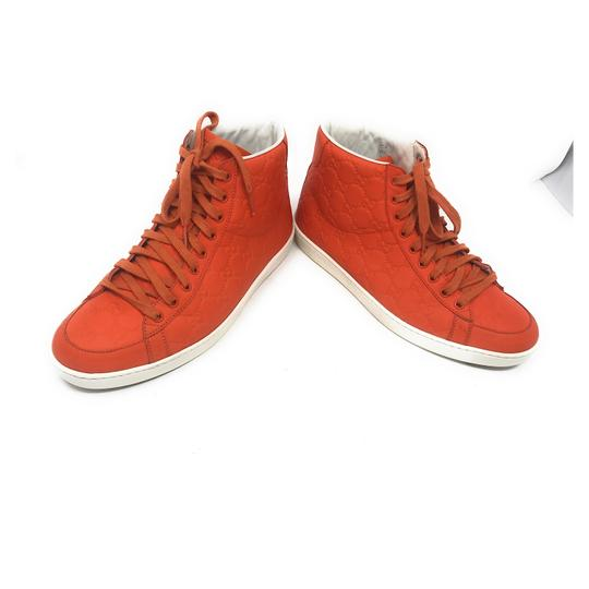Gucci Sneakers High Top Leather Gg Monongram Orange Athletic Image 11