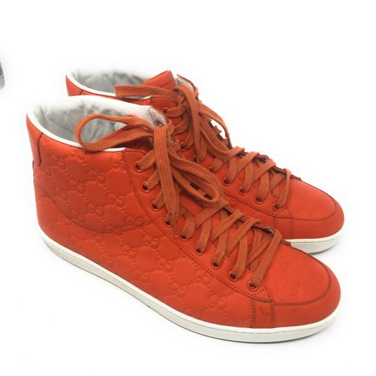 Gucci Sneakers High Top Leather Gg Monongram Orange Athletic Image 2