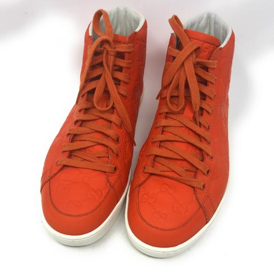 Gucci Sneakers High Top Leather Gg Monongram Orange Athletic Image 3