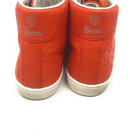 Gucci Sneakers High Top Leather Gg Monongram Orange Athletic Image 4