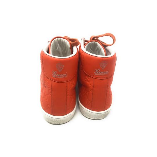 Gucci Sneakers High Top Leather Gg Monongram Orange Athletic Image 7