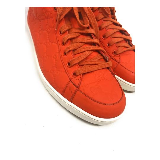 Gucci Sneakers High Top Leather Gg Monongram Orange Athletic Image 9