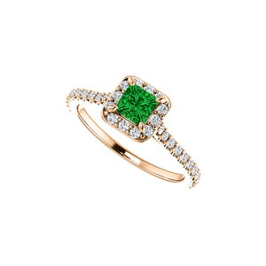 DesignByVeronica Emerald and Cubic Zirconia Halo Ring 14K Gold Vermeil