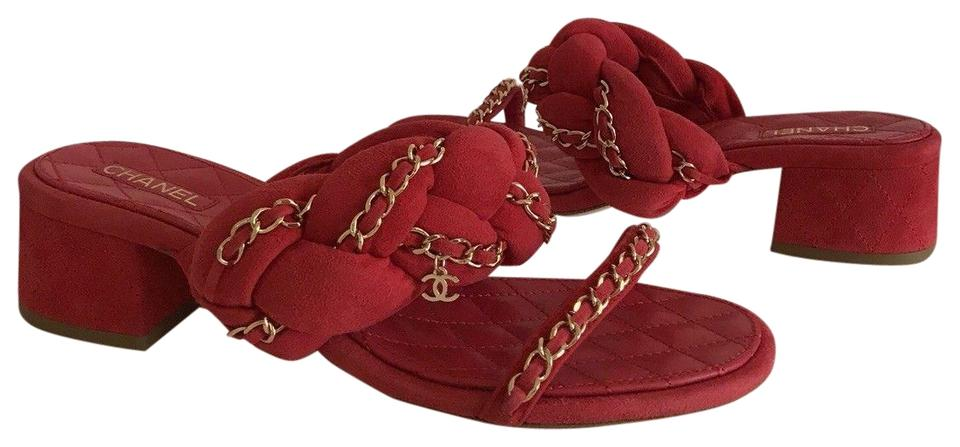 first rate aliexpress look good shoes sale Chanel Red Suede Braided Gold Chain Cc Block Heel Mule Sandals ...