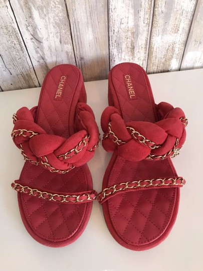 Chanel Mules Flats Pumps Red Sandals Image 1