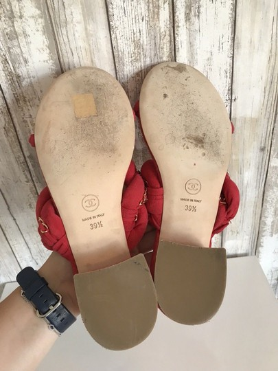 Chanel Mules Flats Pumps Red Sandals Image 7
