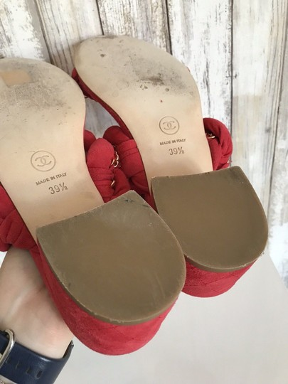 Chanel Mules Flats Pumps Red Sandals Image 8