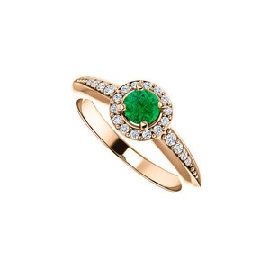 DesignByVeronica 0.75 CT Emerald CZ Halo Ring in 14K Rose Gold Vermeil