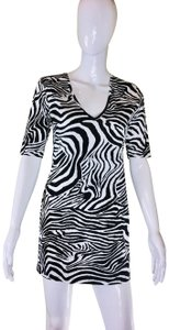 ffc12dc079c VENUS short dress Black and white zebra Tunic Long Tee Short Sleeve Animal  Print on Tradesy