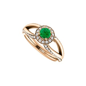 DesignByVeronica Emerald and CZ Accented Open Leaf Design Halo Ring