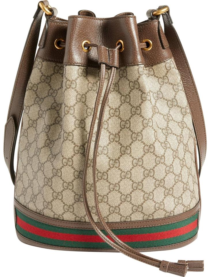 d045c03607a Gucci New Ophidia Gg Supreme Bucket Beige Coated Canvas Shoulder Bag ...