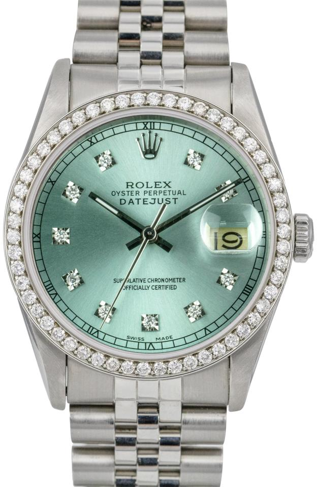 Rolex Ice Blue Mens Datejust Steel 36mm Diamond Dial Diamond Bezel 36mm  Watch