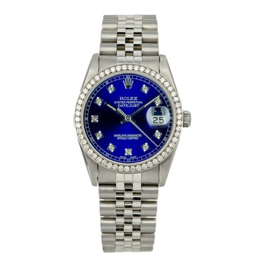 Rolex Rolex Mens Datejust Steel Diamond Dial Diamond Bezel 36mm Watch Image 1