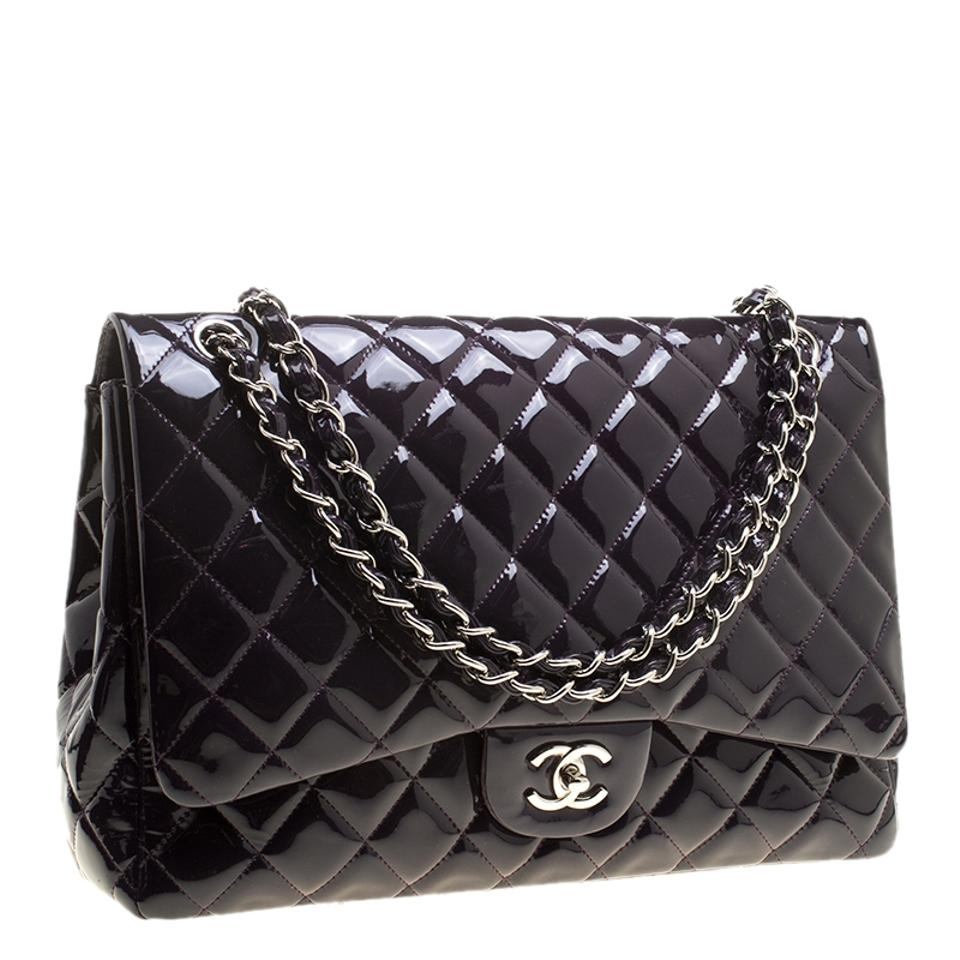 1160de31ebe9 Chanel Classic Flap Quilted Patent Maxi Classic Single Purple ...
